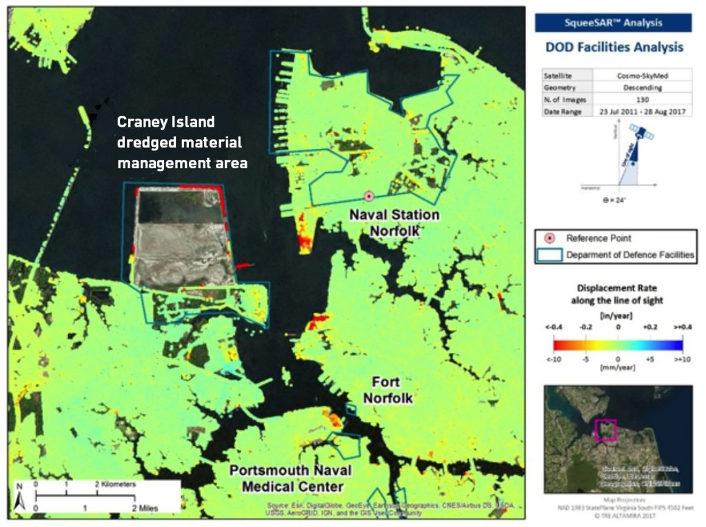 InSAR study-close up of Craney-Island in Hampton Roads