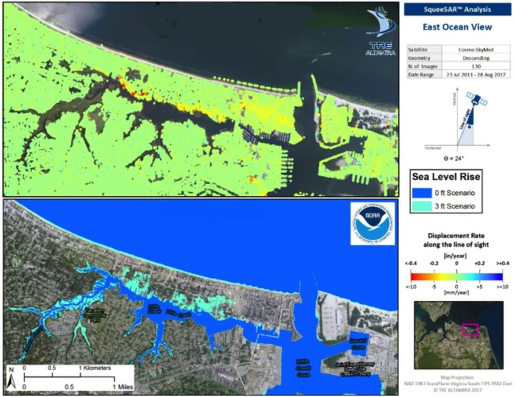 InSAR map over Hampton Roads East Ocean