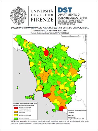 InSAR Bulletin motion map over Toscana