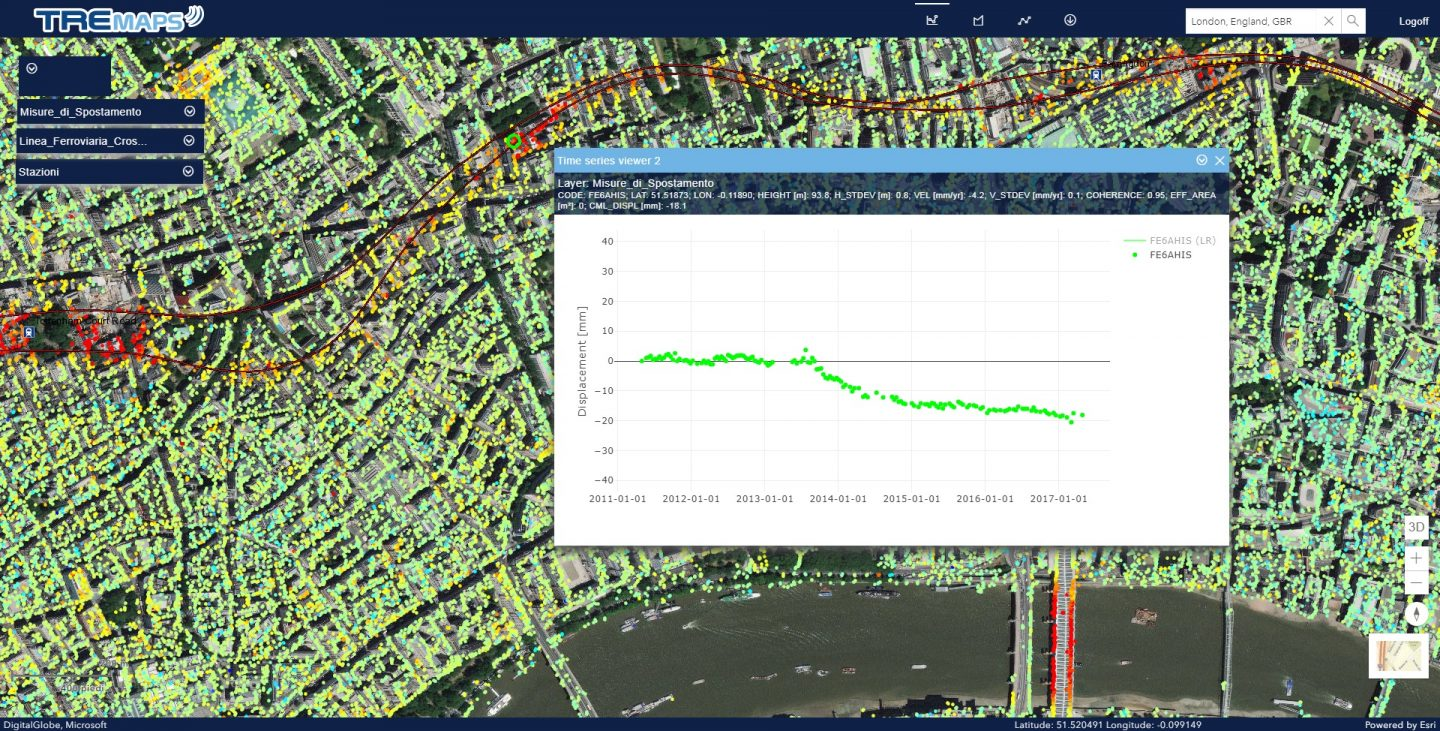 InSAR analysis during Crossrail metro line construction