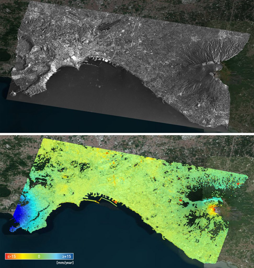 Naples- SqueeSAR analysis results and amplitude image od the city