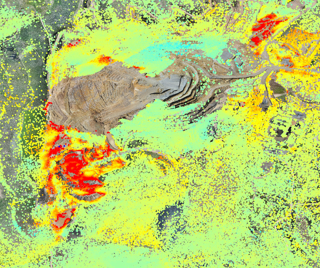 InSAR results over a mine site